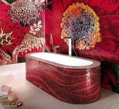 baths, wall treatment, red, mosaics, bathrooms, mosaic bathtub, mosaic tiles, dream bathroom, mosaic art