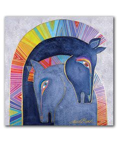 Embracing Horses Wrapped Canvas