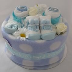 One Tier Boys Bootees Nappy Cake                              …