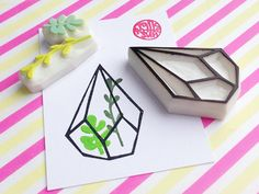 geometric terrarium hand carved rubber stamps. succulent terrarium stamps. set of 3. style no1. 1 geometric iron terrarium rubber stamp. 2 succulent plant stamps. for people who likes interior garden, plants and geometric. each rubber stamp is designed and carved by talktothesun.  SIZE: about 6cmX4cm (2.36inX1.57in) - iron terrarium stamp about 4cmX1cm(1.57inX0.39in) - long succulent plant stamp about 2.5cmX1.5cm (1inX0.59in) - short succulent plant stamp  IDEAS FOR CREAFT PROJECTS: diy…