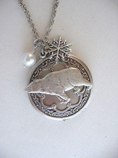 Polar Bear, LOCKET, Silver Locket Necklace, Bear Locket,Wildlife Jewelry,Bear Jewelry,Polar Bears,Snowflake,Snow,Alaska,Bears,Vintage Locket...