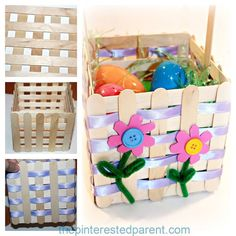 Popsicle Stick Easter Basket Craft - a pretty project that you can make with your kids Why buy an Easter basket, when you can make your own gorgeous basket with craft sticks. The kids will love decorating their own craft stick Easter basket. Craft Stick Projects, Craft Stick Crafts, Easy Crafts, Diy And Crafts, Craft Sticks, Popsicle Sticks, Resin Crafts, Easter Crafts For Kids, Diy For Kids