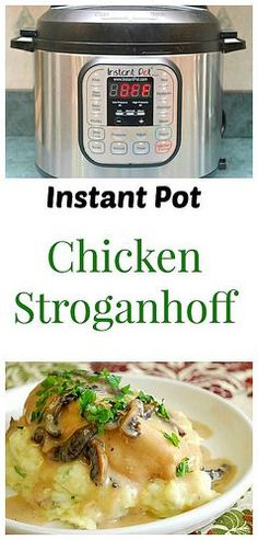 Chicken Stroghanoff has browned chicken breasts dressed with a creamy mushroom sauce and served atop sour cream and chive mashed potatoes. Quick comfort food is possible in the Instant Pot! #instantpot #dinner