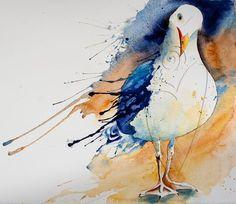 "SOLD ""Beach Boy"" Seagull Watercolor - Denise Joy McFadden | Touchstone Gallery"