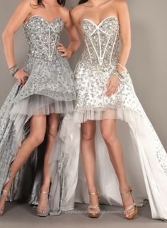 Gray and White Hi-Lo Prom Dresses