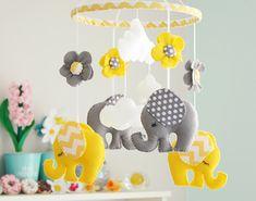 Baby Nursery Mobile Yellow/ Grey Chevron/polkadot by FlossyTots