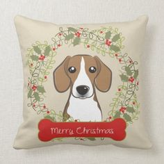 Merry Christmas Dog Breed Throw Pillow  bluetick beagle, diy puppy ears, puppy biting tips #puppy #animals #love, back to school, aesthetic wallpaper, y2k fashion Merry Christmas Dog, Christmas Home, Beagle Funny, Beagle Puppies, Beagle Gifts, Puppy Biting, Christmas Card Holders, Custom Pillows, Dog Breeds