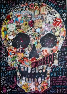 collage and chalk skull.  Love this!