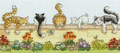 Lazy Cats Cross stitch kit designed by Gillian Roberts for Bothy Threads. Your kit contains 14 count 'ice blue' aida, pre-sorted stranded cottons, needle, stitch diagram and instructions. Finished size x RRP See more Bothy Threads Cross Stitch Cute Cross Stitch, Counted Cross Stitch Kits, Cross Stitch Patterns, Group Of Cats, Bothy Threads, Black Sheep Wool, Lazy Cat, Tapestry Design, Back Stitch