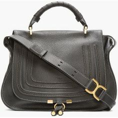 Sales Chloe Black Leather Medium Marcie Handbag new - Pebbled leather handbag in black Gold tone hardware Single wrapped leather carry handle at top Single adjustable leather...