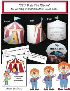 "March Writing Prompt activities: Super-cute ""If We Ran The Circus"" writing prompt craft. Packet includes a class-made book, plus posters. Can be or flat. Circus Activities, Circus Crafts, Dr Seuss Activities, Writing Activities, 3d Writing, Writing Prompts, Creative Writing, Carnival Themes, Circus Theme"
