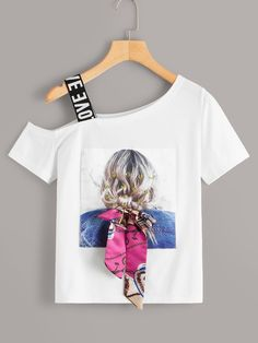 To find out about the Figure Print Tie Front Asymmetrical Neck Tee at SHEIN, part of our latest T-Shirts ready to shop online today! Girls Fashion Clothes, Teen Fashion Outfits, Kids Fashion, Clothes For Women, T Shirt Painting, Cute Casual Outfits, Western Outfits, Blouse Designs, Shirt Blouses