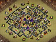 OMG These anti dragon base designs are really cool because of which dragons stopped flying after seeing this town hall 8 base layouts and killed themselves. Clash Of Clans Levels, Dragon Base, War, Design