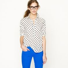 electric blue with polka dots