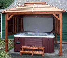 hot tub gazebo   Hot Tub Pavilions   Forever Redwood http://gazebokings.com/building-your-own-garden-hot-tub-gazebo/