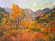 Colorado autumn oil painting landscape over 24 karat gold leaf, by Erin Hanson