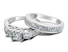 Princess Cut Three-Stone Diamond Engagement Ring and Wedding Band Set 1.0 Carat (ctw) in 14K White Gold, Size 7