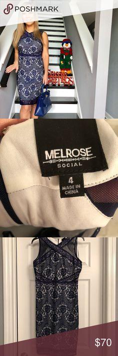 Melrose Blue Lace Sheath dress Size 4 Sangria Mesh & lace combo sheath.  Back zipper closure. Worn once. Paid $90 last week. Size 4 Melrose Dresses