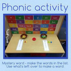 Phonic challenge - make the words to find the mystery one. Early Years Maths, Early Years Classroom, Word Challenge, Writing Challenge, English Activities, Phonics Activities, Learning Through Play, Kids Learning, Phonics Display
