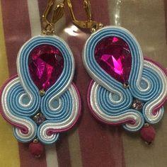 Colorful Tribal Earrings Long Clip-On Earrings Earrings with PomPoms Tassel Earrings Boho Soutache Earrings Handmade Earrings Xmas gift Turquoise Tassel Earrings, Long Tassel Earrings, Tribal Earrings, Big Earrings, Clip On Earrings, Soutache Bracelet, Soutache Jewelry, Fancy, Beaded Embroidery