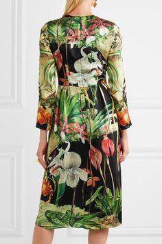 Adam Lippes - Printed Silk-satin Midi Dress - Green