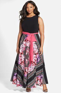 Eliza+J+Scarf+Print+Jersey+&+Crêpe+de+Chine+Maxi+Dress+(Plus+Size)+available+at+#Nordstrom