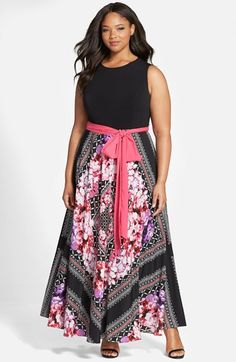 Eliza+J+Scarf+Print+Jersey+&+Crêpe+de+Chine+Maxi+Dress+(Plus+Size)+available+at+#Nordstrom