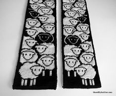 Knitting Pattern - Counting Sheep Scarf You are in the right place about Knitting Techniques videos Here we offer you the most beautiful pictures about the Knitting Techniques ideas you are looking fo Double Knitting Patterns, Knitting Designs, Crochet Patterns, Cat Cross Stitches, Counted Cross Stitch Patterns, Counting Sheep, Yarn Crafts, Modern Cross Stitch, Crochet Projects