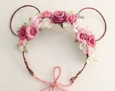 Minnie Mouse Flower Crown  Floral Minnie Mouse by masonandharlow