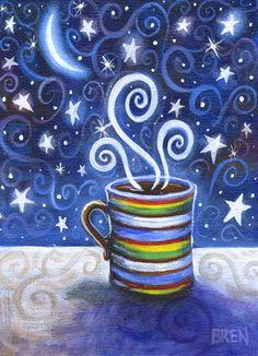 Artículos similares a Descafeinado - 5 x 7 Whimsical colorido delicioso café impresión en Etsy
