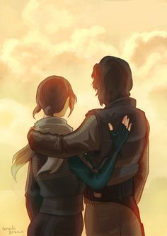 jyn erso and cassian andor - kind of sad to think what that color means now that i've seen it