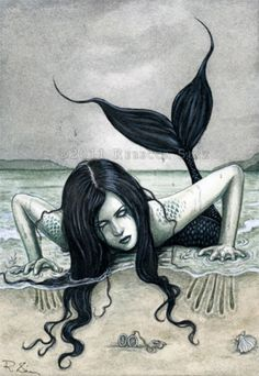 Fantasy Print Art Mermaid Gothic Dark Sea Beach Water | eBay