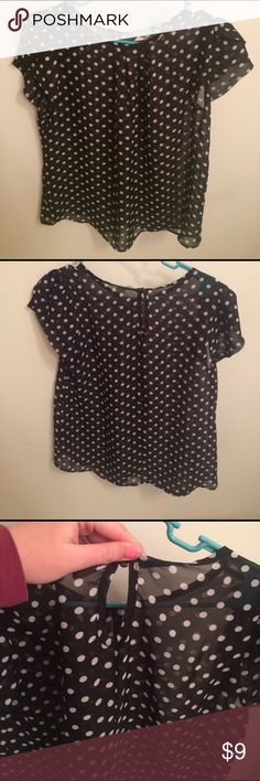 Short sleeve sheer polka dot shirt Short sleeve sheer shirt. April Spirit Tops Blouses