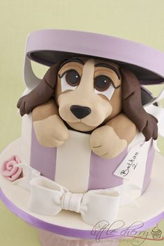 "**Lady in a Hatbox Cake at KG ""The Art of Cakes"" #Cake #Puppy"