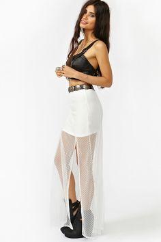 Split Lace Maxi Skirt