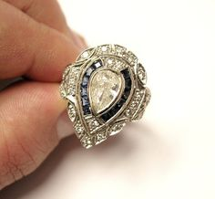 14KWG Antique Art Deco Diamond and Sapphire Vintage Filigree Ring