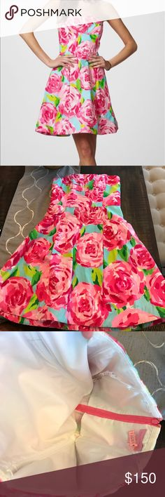 Lilly Pulitzer First Impression Rose A-Line Dress. Only worn twice. Recently dry cleaned, smoke free home. Great condition.no trades or off Poshmark sales. Lilly Pulitzer Dresses Strapless