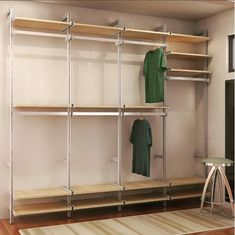 Description All the hardware required for an 8 foot closet - just add your own shelves. Create a clean, modern design that maximizes the space in your closet. (Limited Quantity Available, while supply lasts) Dimensions 101 Bedroom Closet Design, Modern Bedroom Design, Closet Designs, Modern Room, Modern Design, Pipe Closet, Walk In Closet, Organizar Closet, Tidy Room