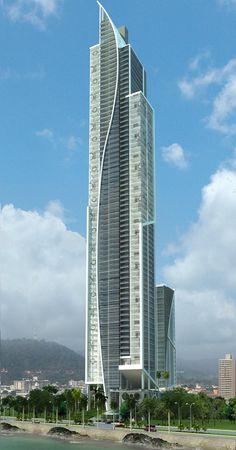 Yoo & Arts Tower, Panama City by Bettis - Tarazi Arquitectos :: 80 floors, height Futuristic Architecture, Beautiful Architecture, Contemporary Architecture, Architecture Design, Interesting Buildings, Amazing Buildings, Modern Buildings, City Buildings, Future Buildings