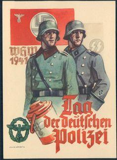 3rd Reich Germany Waffen SS Police Deutsche Polizei Propaganda Card