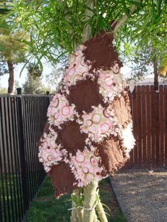 Pink and Brown Circle  Security Blanket Ragged Quilts  by AuntBugs, $18.00