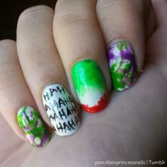 Why So Serious? My abstract Joker nails. I'm just in saint excited for Suicide Squad! Lol these were fun to do. I really love my Joker nail. It's pretty… Diva Nails, 3d Nails, Coffin Nails, Acrylic Nails, Acrylics, Fancy Nails, Pretty Nails, Joker, Maquillage Harley Quinn