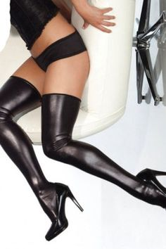 2 Sexy Pieces Wet Look Faux Leather Stockings Black Red Colors Sizes M XXL