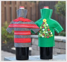 Here's a cheap and creative way to dress up a hostess gift this holiday season! Do it yourself wine bottle sweaters for the holidays! We got this idea from a catalog that featured wine bottles snug...