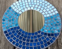 Stained Glass Mosaic Mirror/Shades of by SunriseMosaicsbyBeth Stained Glass Mirror, Mirror Mosaic, Mosaic Art, Mosaic Glass, Mosaic Tiles, Bird Wall Art, Mosaic Projects, Blue Mirrors, Coastal Decor