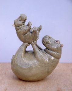 """""""Mummy""""s Little Bundle"""" Hand Modeled Ceramic Hippo Sculpture. Sculptures Céramiques, Art Sculpture, Pottery Sculpture, Sculpture Ideas, Pottery Animals, Ceramic Animals, Clay Animals, Ceramic Clay, Ceramic Pottery"""