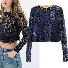 2014 New European Style Women Clothing Lace Blusas Femininas Desigual Brand Long Sleeve T Shirts Hollow Out Blouses Womens Tops $19.89