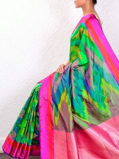 Rainbow Ikat saree