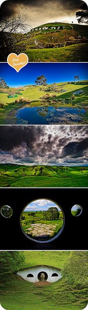 Hobbiton movie set in New Zealand, near Matamata. Looks like it's become a tourist trap for the country, but these abodes kind of remind of 'new age' eco-housing