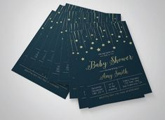 Stars baby shower invitation printable baby by 101prettydesigns